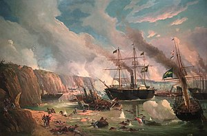 Battle of the Riachuelo - Brazilian steamers crushing the Paraguayan Navy.