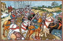 Mounted knights chase their enemies off to the right, across a river.