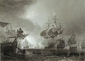 Battle of Beachy Head (1690) - Battle of Beachy Head  Steel engraving by Jean Antoine Théodore de Gudin.