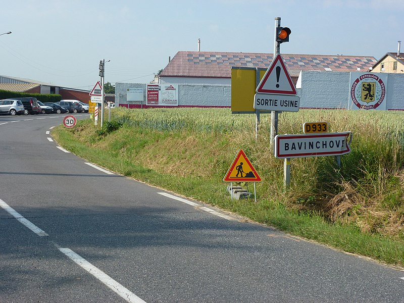 Bavinchove (Nord, Fr) city limit sign