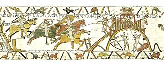 "Dinan - HIC MILITES WILLELMI DUCIS PUGNANT CONTRA DINANTES (""Here the knights of Duke William fight against the men of Dinan""). Scene from the Bayeux Tapestry, c.1066, showing the early castle of Dinan"