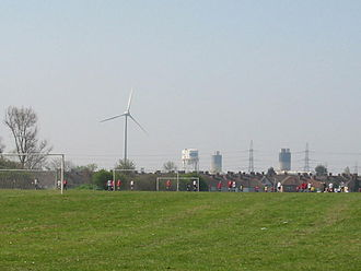 Dagenham - The southern Dagenham skyline includes structures of the Ford plant and wind turbines.