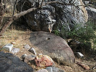 Madera Canyon - Image: Bedrock Mortar Madera Canyon Arizona 2014