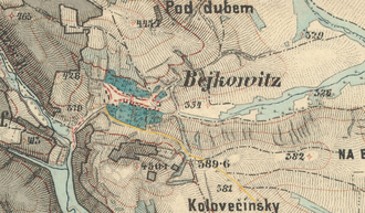 Býkovice - The military mapping from year 1876