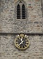 Belfry openings and clockface on the west tower of the parish church of St Michael and All Angels, Flax Bourton, Somerset.jpg