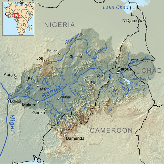 The Benue River is fed by multiple tributaries originating in the Adamawa Plateau; many of the highest tributaries are seasonal streams. The Benue is itself a major tributary of the Niger.