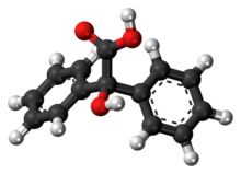 Ball-and-stick model of the benzilic acid molecule