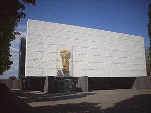 Maria Regina Martyrum - Fritz Koenig's sculpture the Apocalyptic Woman on the façade of Maria Regina Martyrum