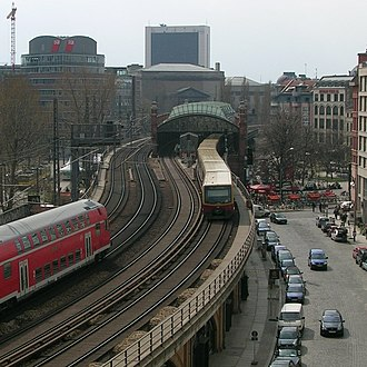S-train - Part of Berliner Stadtbahn. The tracks on the right belong to the S-train system and the trains stop at the Hackescher Markt station, while the other two tracks are for other train types, which do not stop at this station