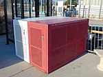 Bicycle lockers at Millcreek station, Aug 16.jpg