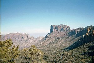 Big Bend (Texas) - Casa Grande is a prominent peak in the Chisos Mountains of the Big Bend area of west Texas.  The view is from the Pinnacles Trail in Big Bend National Park.