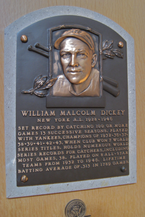 English: Yankee catcher Bill Dickey's plaque a...
