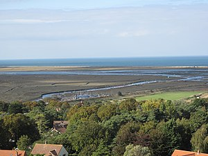 Blakeney Point - The course of the River Glaven through the mudflats and salt marshes can be seen at low tide.