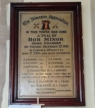 Change ringing - Peal board commemorating the ringing of a peal of Bob Minor in 1910 at St Peter and St Paul Church, Chatteris, Cambridgeshire.