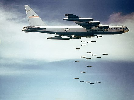 Tens of thousands of civilians were killed during the American bombing of North Vietnam in Operation Rolling Thunder. Boeing B-52 dropping bombs.jpg