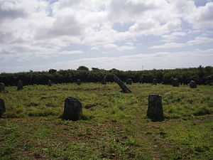 History of Cornwall - Boscawen-Un stone circle looking north