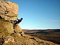 Bouldering at Little Cragg - geograph.org.uk - 1747920.jpg