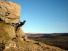 Bouldering at Little Cragg - geograph.org.uk - 1747920.jpg