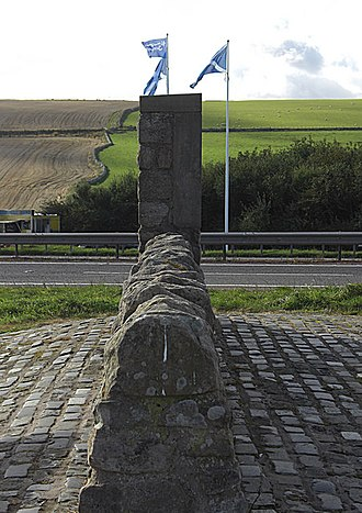 Anglo-Scottish border - A boundary wall marking the border on the A1