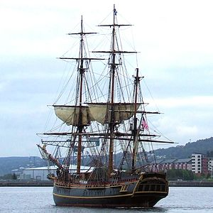 Bounty leaving Greenock, Scotland