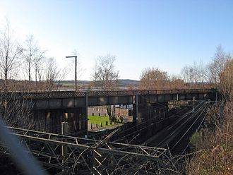 Bowling, West Dunbartonshire - The disused Lanarkshire and Dunbartonshire Railway crosses over the North Clyde line just north of Bowling Basin.