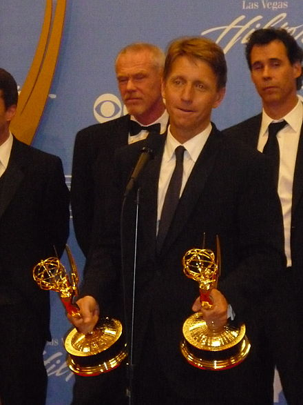 TV producer and writer Bradley Bell accepting Daytime Emmy Awards for his work on the daytime soap opera The Bold and the Beautiful in 2010 Bradley Bell 2010 Daytime Emmy Awards.jpg