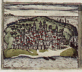 Ottoman–Portuguese conflicts (1586–1589) - 16th century depiction of Mombasa.