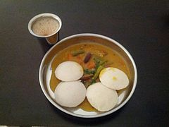 Breakfast idli sambar