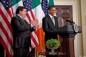 Brian Cowen - Brian Cowen presenting President Barack Obama with a bowl of shamrock for Saint Patrick's Day at the White House.