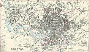 History of Bristol - A map of Bristol published in 1866.