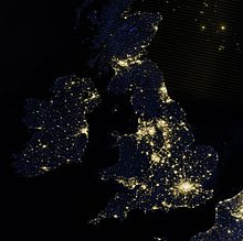 A satellite photo of the British Isles at night