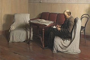 Fine Art of Leningrad - Isaak Brodsky Lenin in Smolny. 1930. Tretyakov Gallery