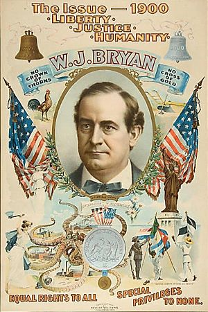 Seated Liberty dollar - Democratic presidential candidate William Jennings Bryan campaign poster, 1900.  The silver dollar illustrated below the portrait resembles a Seated Liberty dollar.