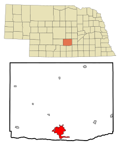 Buffalo County Nebraska Incorporated and Unincorporated areas Kearney Highlighted.svg
