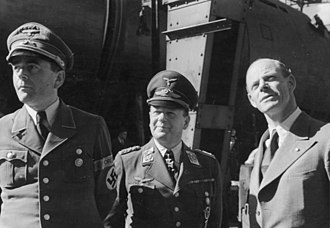 Erhard Milch - Milch (centre) with Minister of Armaments Albert Speer (left) and aircraft designer Willy Messerschmitt (right)