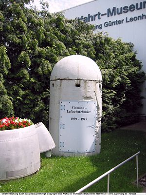 Air raid shelter - Single-person air raid shelter in Germany on display in an aviation museum