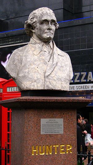 John Hunter (surgeon) - Bust of Hunter near where he lived in Leicester Square, London