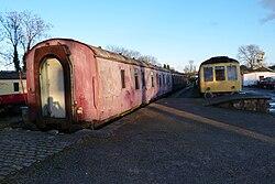 Butterley railway station, Derbyshire, England -old train-19Jan2014.jpg