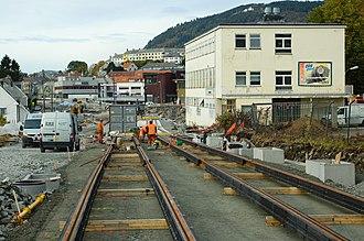 Bergen Light Rail - Construction near Kronstad during 2008