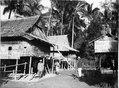 Byscen, t.v. två bostadshus, t.h. en risbod. Doohian. Indonesien - SMVK - 000188.tif