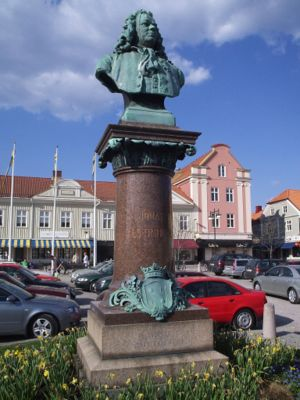 "Statue of Jonas Alströmer located at ""Stora Torget"" in Alingsås."