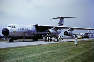436th Airlift Wing - Lockheed C-141A-15-LM Starlifter 64-0630 of the 436th Military Airlift Wing, MAC, at Brisbane airport, Australia supporting the visit of President Lyndon B. Johnson on 22 October 1966.  This aircraft was later converted to the stretched C-141B configuration, and eventually was retired to AMARC on 14 November 2000.