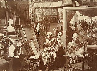 C. F. Goldie - Portrait of C. F. Goldie in his studio with Patara Te Tuhi, attributed Alfred Hill, ca. 1905-1910, from mounted silver gelatin print, SLNSW PXE 1402
