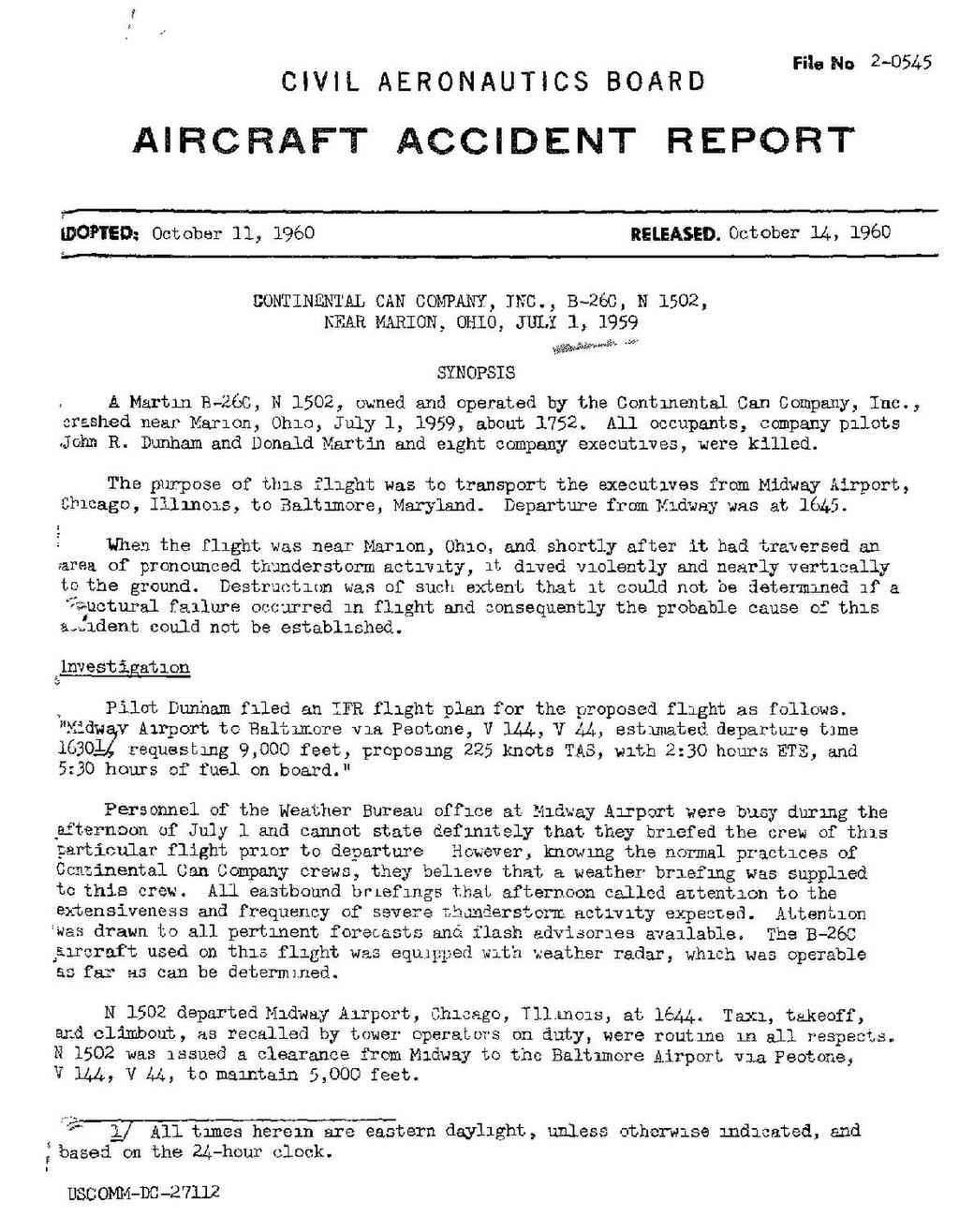 Page:CAB Accident Report, Continental Can Company plane