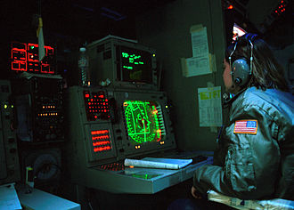Operations room - CIC of USS ''Carl Vinson'', 2001.