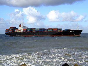 CMA CGM Elbe p7 approaching Port of Rotterdam, Holland 21-Jan-2007.jpg