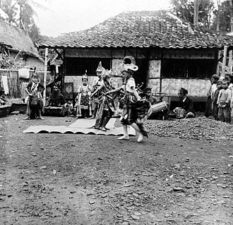 Cirebonese people - Javanese dance in a backyard in Cirebon.