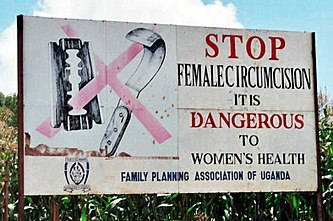 Campaign road sign against female genital mutilation (cropped) 2.jpg