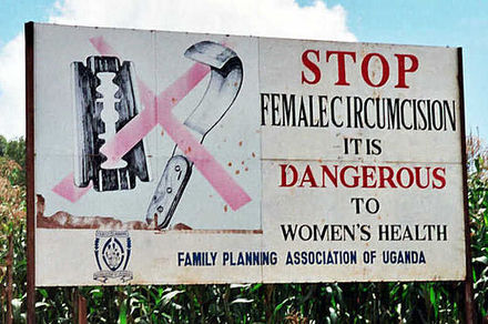 Road sign near Kapchorwa, Uganda, 2004 Campaign road sign against female genital mutilation (cropped) 2.jpg