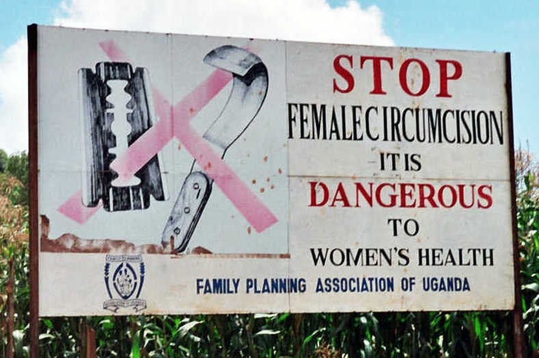Campaign road sign against female genital mutilation (cropped) 2